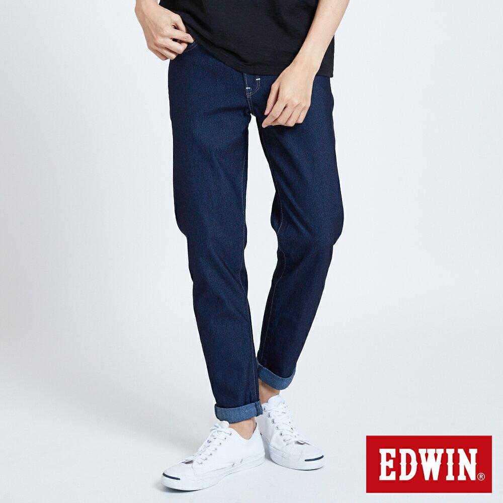 新品↘EDWIN JERSEYS 迦績 大尺碼 MED系列不對稱 AB牛仔褲-男款 原藍磨 TAPERED 0