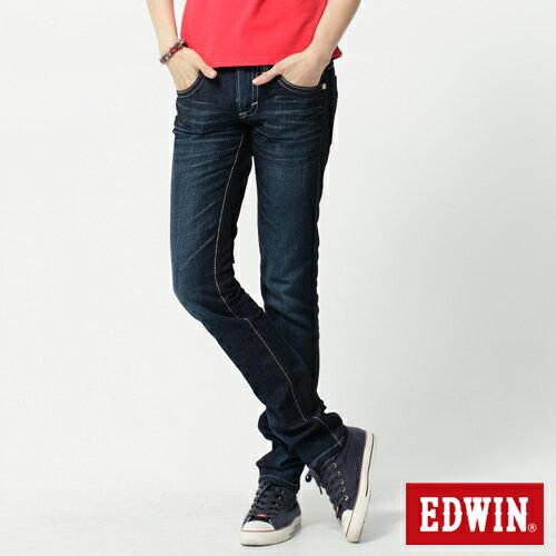 【5折優惠↘】 Miss EDWIN BLUE TRIP 後袋剪接窄管直筒-女款 酵洗藍【單筆滿1500 | 結帳輸入序號Nov-edwin再折200↘數量有限↘限用一次】 0