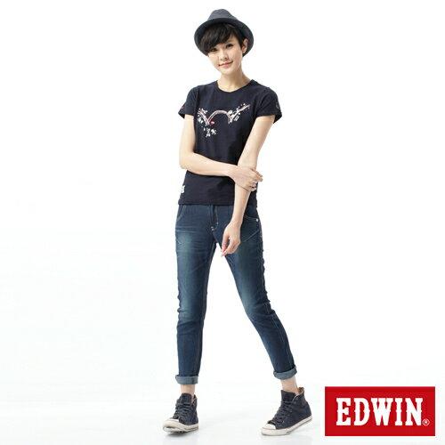 【換季最終波。任2件再9折優惠↘】Miss EDWIN  503 JERSEYS迦績立體剪裁牛仔褲-女款 石洗綠 2