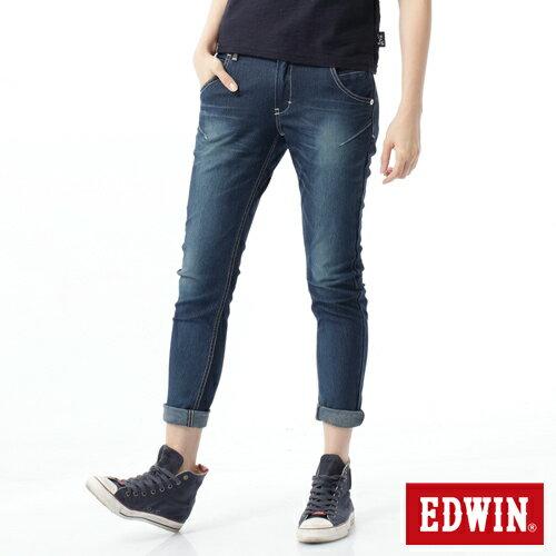 【換季最終波。任2件再9折優惠↘】Miss EDWIN  503 JERSEYS迦績立體剪裁牛仔褲-女款 石洗綠 1