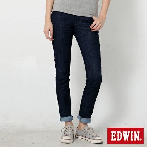 【9折優惠↘】Miss EDWIN EDEG LINE 基本 窄直筒牛仔褲-女款 原藍色【單筆888輸入代碼fashion2228-1折100元↘單筆999點數13倍↘再抽2萬里程數↘】