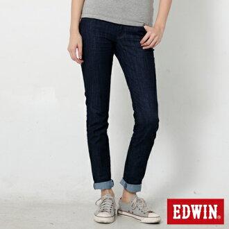 【換季最終波。任2件再9折優惠↘】Miss EDWIN EDEG LINE 基本 窄直筒牛仔褲-女款 原藍色