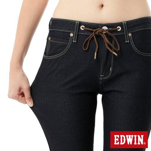 【2000元優惠↘】Miss EDWIN JERSEYS x B.T 迦績 皮綁繩窄直筒牛仔褲-女款 原藍色 3