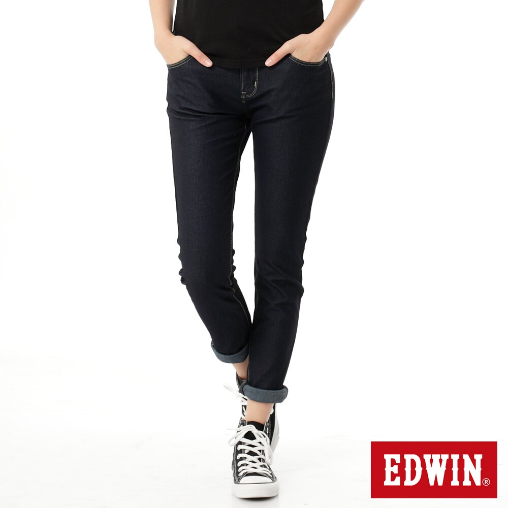 【APP領券9折】Miss EDWIN JERSEYS 迦績 x B.T皮綁繩 窄直筒牛仔褲-女款 原藍色 SLIM 零碼
