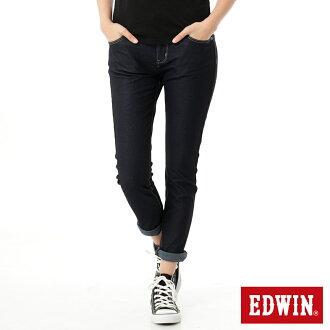 【換季最終波。任2件再9折優惠↘】Miss EDWIN JERSEYS x B.T皮綁繩窄直筒牛仔褲-女款 原藍色
