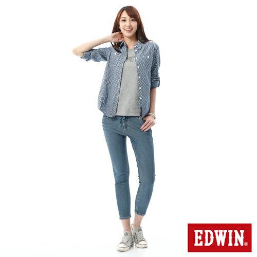 【過年加碼。2件再9折優惠↘】EDWIN JERSEYS迦績酷涼PK 九分牛仔褲-女-石洗藍 2