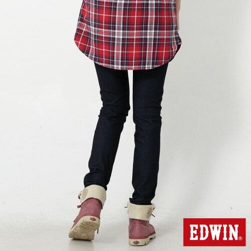 【過年加碼。2件再9折優惠↘】Miss EDWIN JERSEYS 迦績內藏紅腰頭窄管牛仔褲-女款 原藍色 1