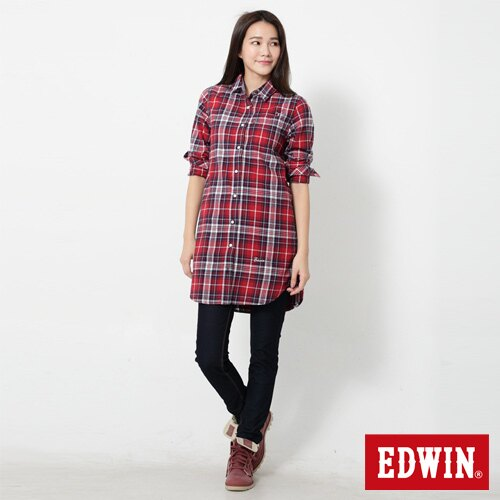 【過年加碼。2件再9折優惠↘】Miss EDWIN JERSEYS 迦績內藏紅腰頭窄管牛仔褲-女款 原藍色 2