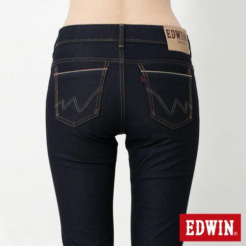 【新品上市↘】Miss EDWIN JERSEYS 迦績內藏紅腰頭窄管牛仔褲-女款 原藍色【下單輸入限量代碼2K22030-1折220元↘序號限用一次↘】 4