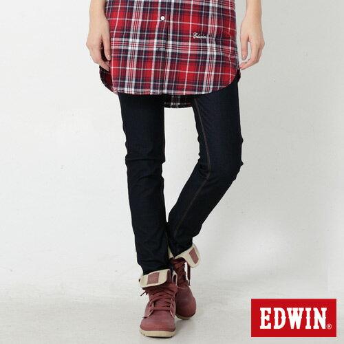 【過年加碼。2件再9折優惠↘】Miss EDWIN JERSEYS 迦績內藏紅腰頭窄管牛仔褲-女款 原藍色 0