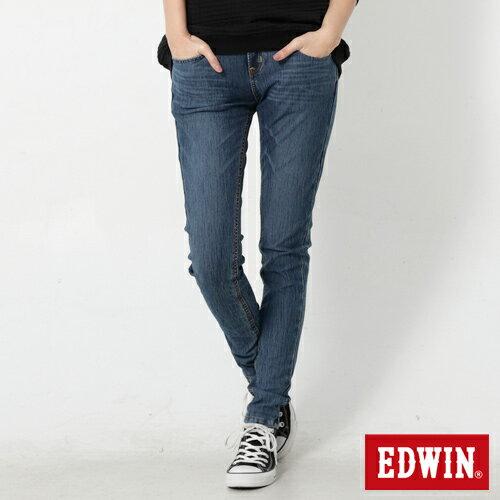 【4月丹寧主打。迦績褲2件以上再9折↘】Miss EDWIN JERSEYS 迦績紅黑賽車格腰頭AB褲-女款 拔洗藍【單件購買可使用優惠券EDWIN200-1。再折200】 0
