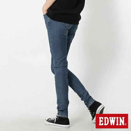 【4月丹寧主打。迦績褲2件以上再9折↘】Miss EDWIN JERSEYS 迦績紅黑賽車格腰頭AB褲-女款 拔洗藍【單件購買可使用優惠券EDWIN200-1。再折200】 1