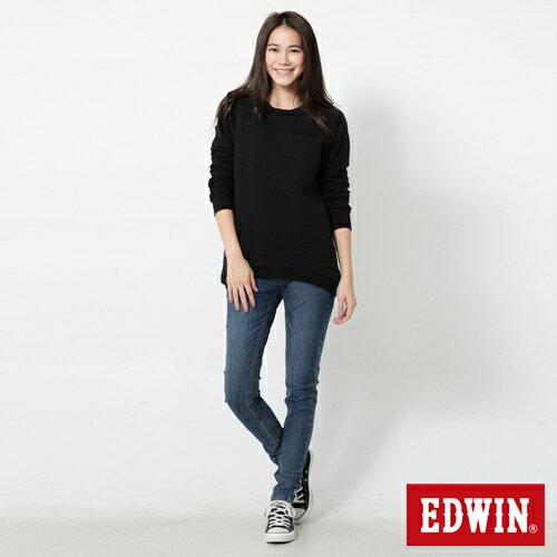【4月丹寧主打。迦績褲2件以上再9折↘】Miss EDWIN JERSEYS 迦績紅黑賽車格腰頭AB褲-女款 拔洗藍【單件購買可使用優惠券EDWIN200-1。再折200】 2