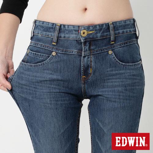 【9折優惠↘】Miss EDWIN JERSEYS 迦績紅黑賽車格腰頭AB褲-女款 拔洗藍 3