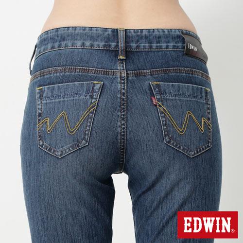 【9折優惠↘】Miss EDWIN JERSEYS 迦績紅黑賽車格腰頭AB褲-女款 拔洗藍 4