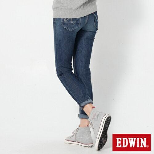 【換季最終波。任2件再9折優惠↘】Miss EDWIN JERSEYS x B.T迦績立體剪裁AB褲-女款 拔洗藍 1