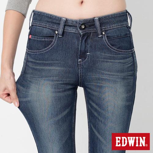 【換季最終波。任2件再9折優惠↘】Miss EDWIN JERSEYS x B.T迦績立體剪裁AB褲-女款 拔洗藍 3
