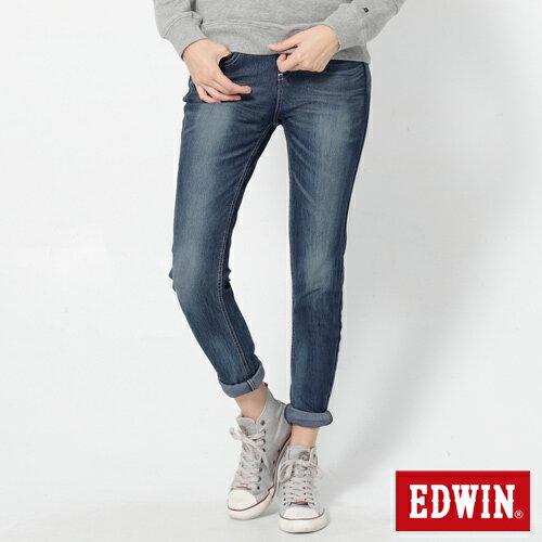 【換季最終波。任2件再9折優惠↘】Miss EDWIN JERSEYS x B.T迦績立體剪裁AB褲-女款 拔洗藍 0
