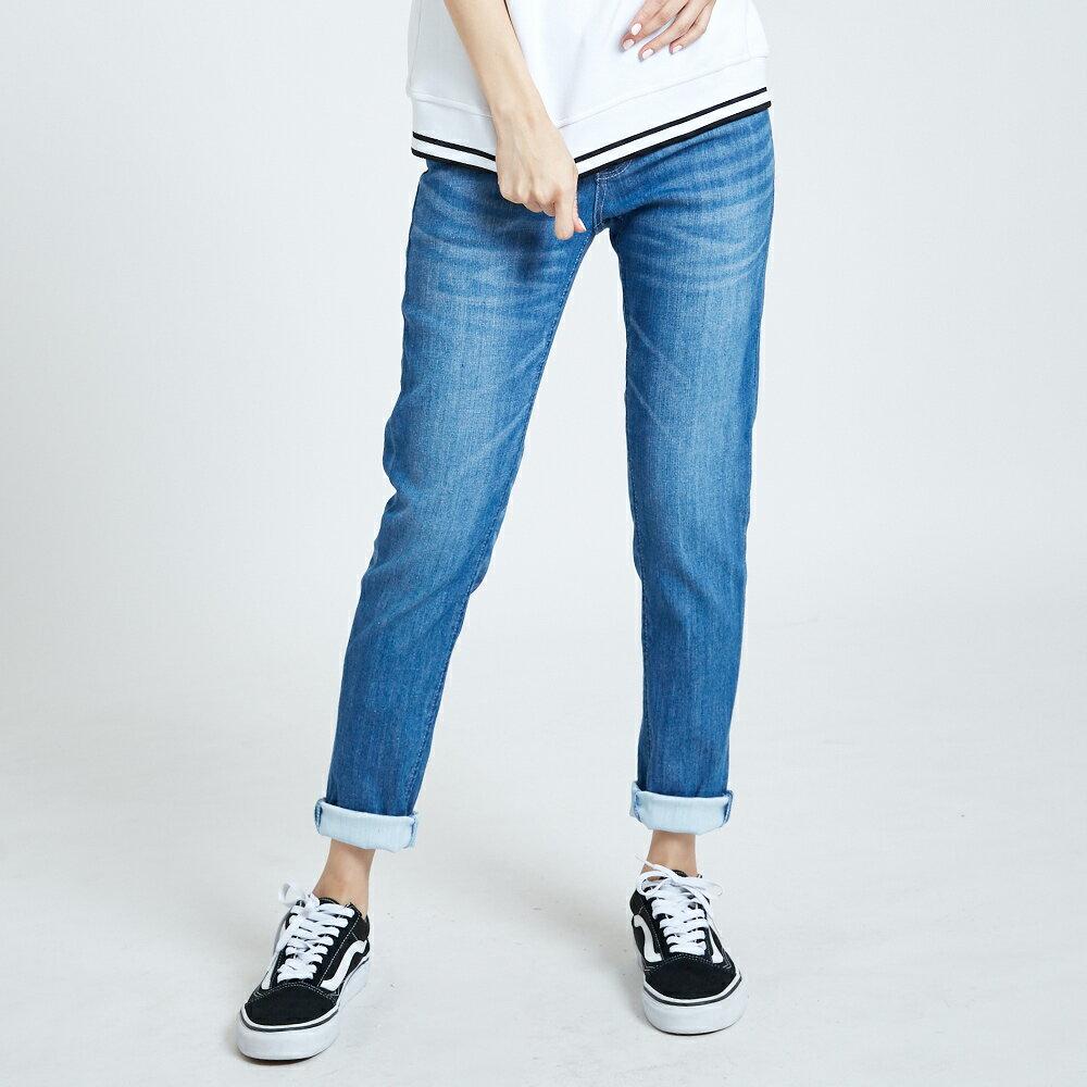 新品↘EDWIN MISS 涼感 清爽刷色 AB牛仔褲-女款 石洗藍 TAPERED 1