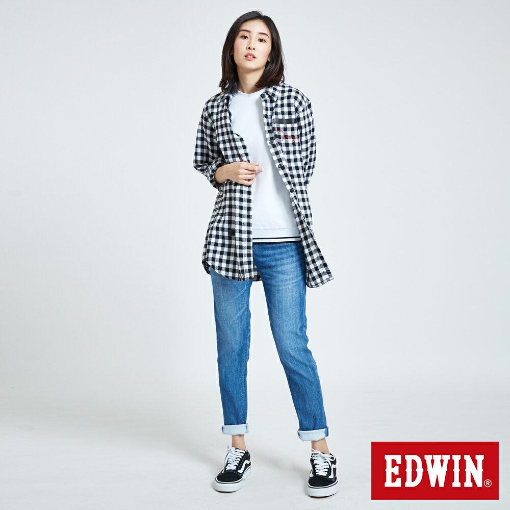 新品↘EDWIN MISS 涼感 清爽刷色 AB牛仔褲-女款 石洗藍 TAPERED 5
