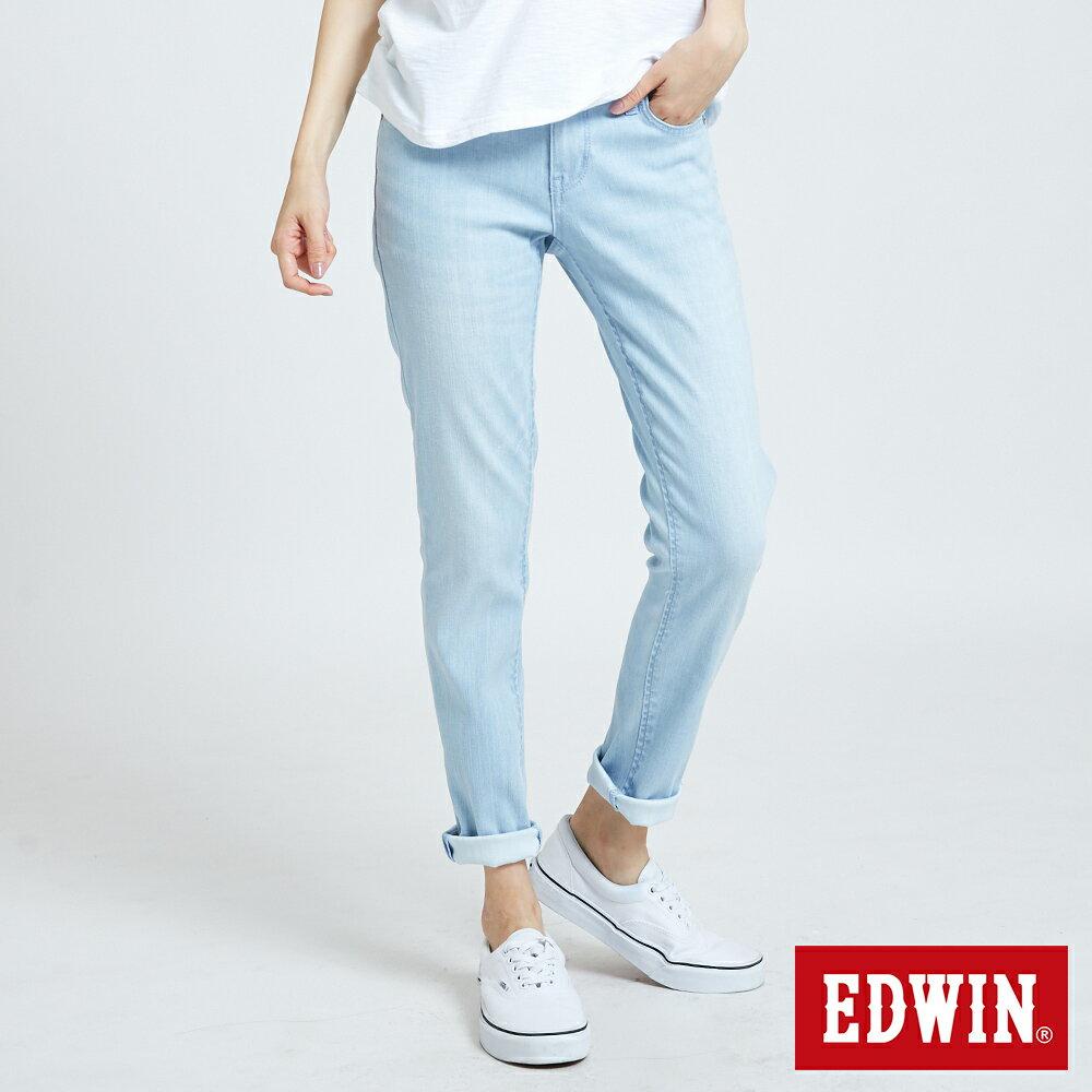 新品↘EDWIN MISS 涼感 清爽刷色 AB牛仔褲-女款 重漂藍 TAPERED 0
