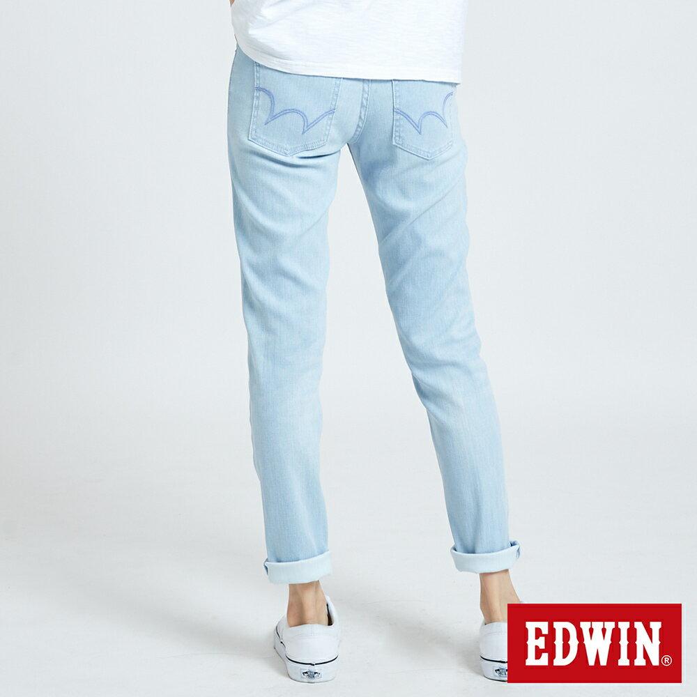 新品↘EDWIN MISS 涼感 清爽刷色 AB牛仔褲-女款 重漂藍 TAPERED 2