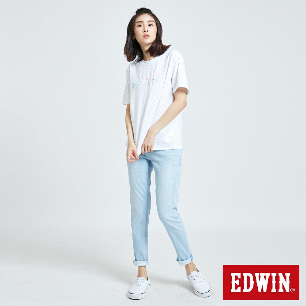新品↘EDWIN MISS 涼感 清爽刷色 AB牛仔褲-女款 重漂藍 TAPERED 5