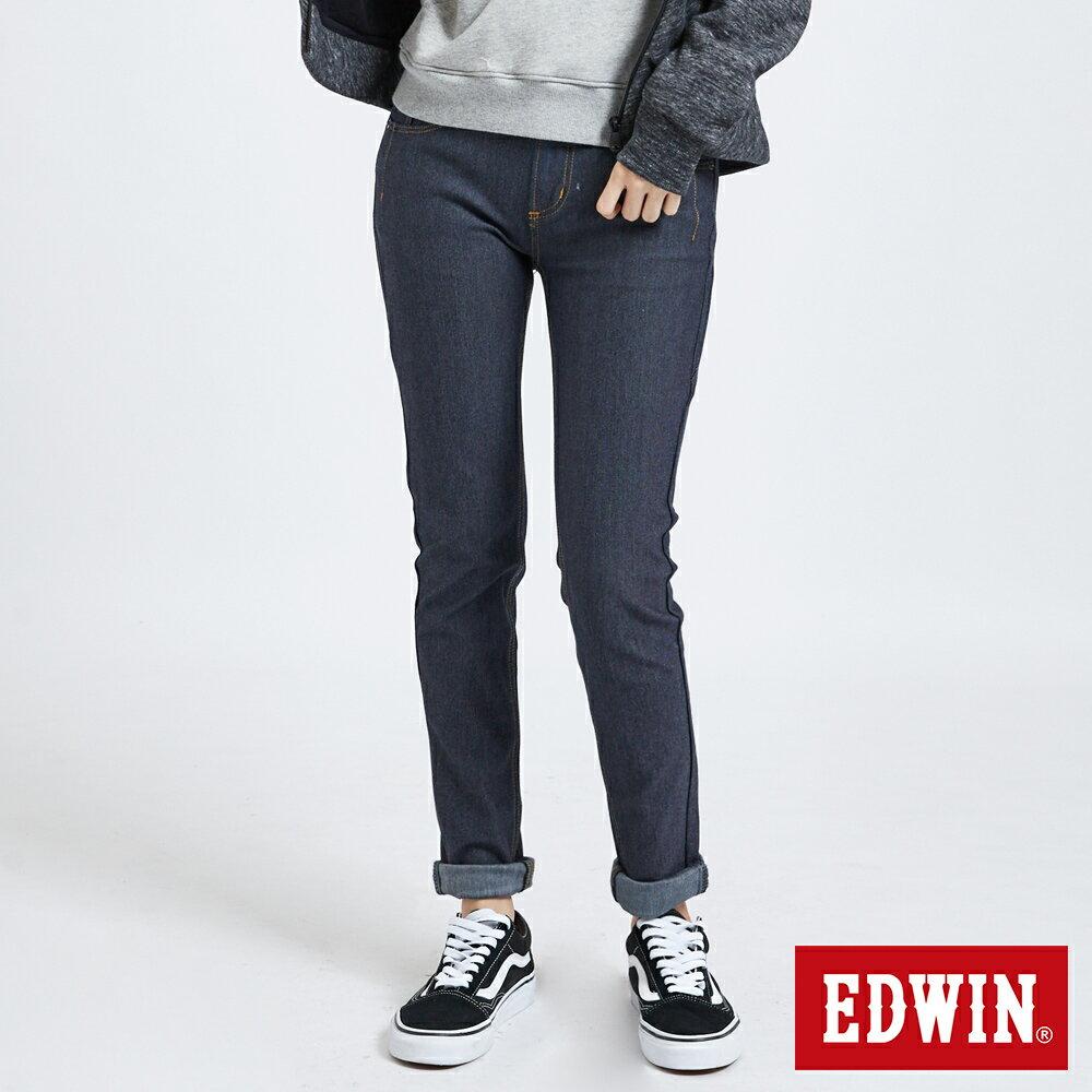 【APP領券9折】EDWIN JERSEYS 迦績 保溫 AB牛仔褲-女款 原藍色 升溫褲 TAPERED