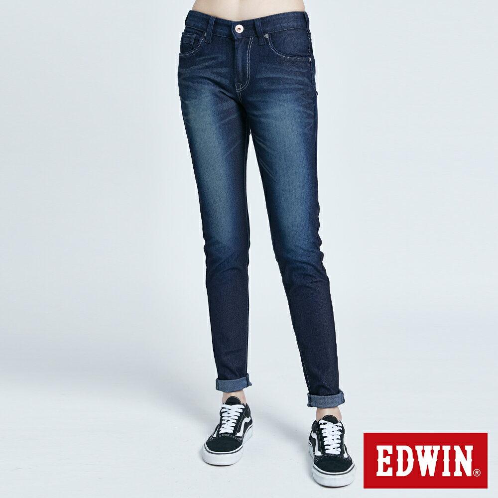 新品↘Miss EDWIN JERSEYS 迦績 PK EJ2透氣中腰合身 AB牛仔褲-女款 原藍磨 TAPERED 0