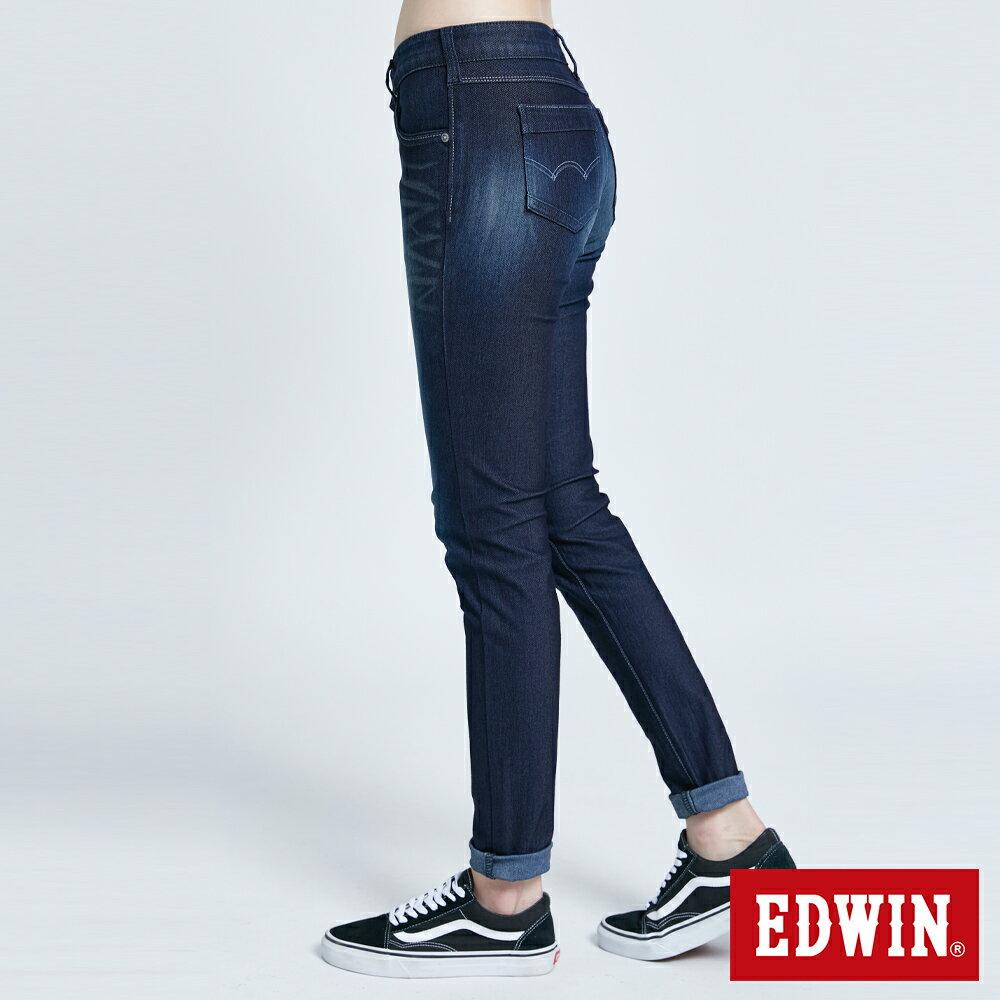 新品↘Miss EDWIN JERSEYS 迦績 PK EJ2透氣中腰合身 AB牛仔褲-女款 原藍磨 TAPERED 3