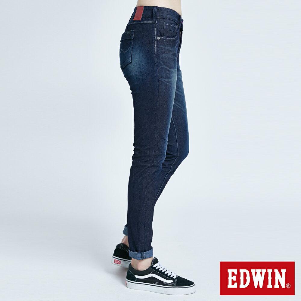 新品↘Miss EDWIN JERSEYS 迦績 PK EJ2透氣中腰合身 AB牛仔褲-女款 原藍磨 TAPERED 4