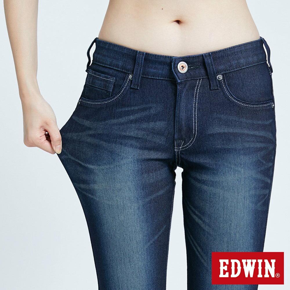 新品↘Miss EDWIN JERSEYS 迦績 PK EJ2透氣中腰合身 AB牛仔褲-女款 原藍磨 TAPERED 6