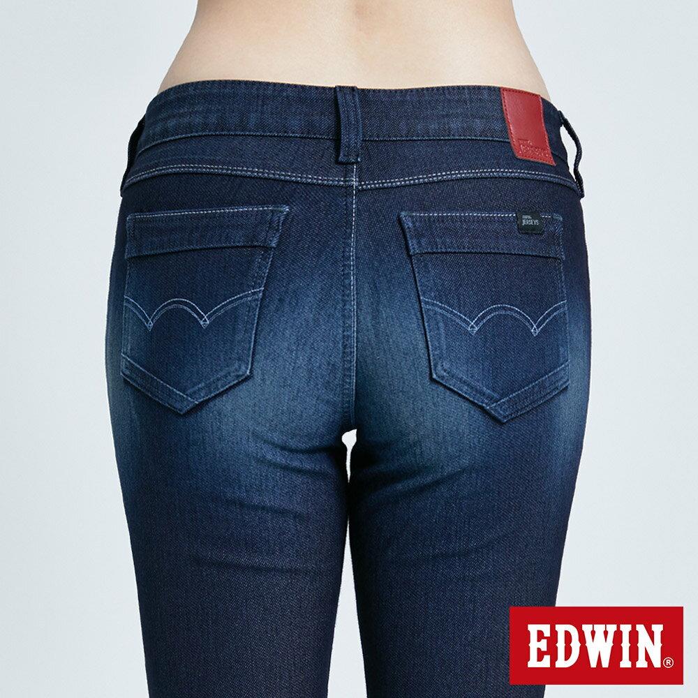 新品↘Miss EDWIN JERSEYS 迦績 PK EJ2透氣中腰合身 AB牛仔褲-女款 原藍磨 TAPERED 7