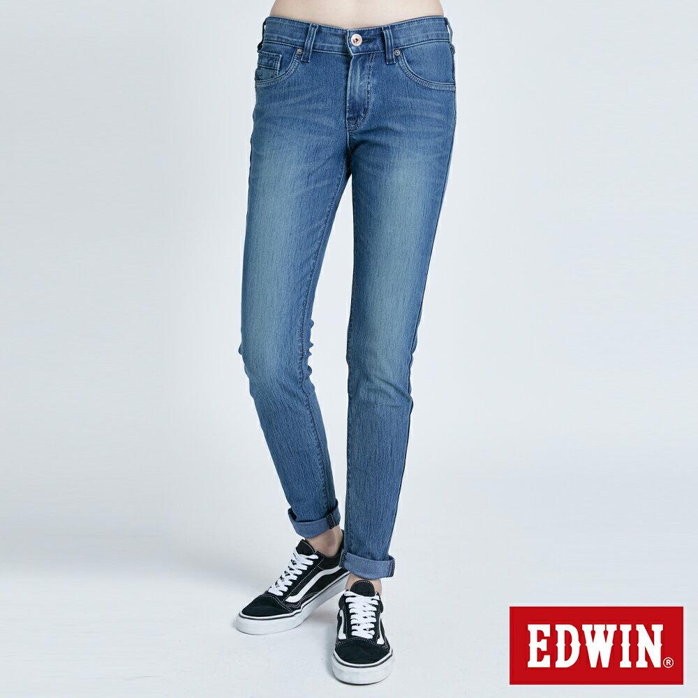 新品↘Miss EDWIN JERSEYS 迦績 PK EJ2透氣中腰合身 AB牛仔褲-女款 拔洗藍 TAPERED 0