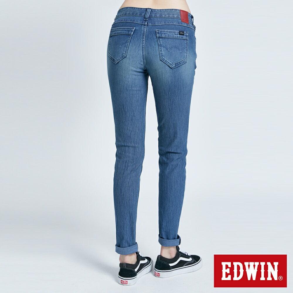 新品↘Miss EDWIN JERSEYS 迦績 PK EJ2透氣中腰合身 AB牛仔褲-女款 拔洗藍 TAPERED 2