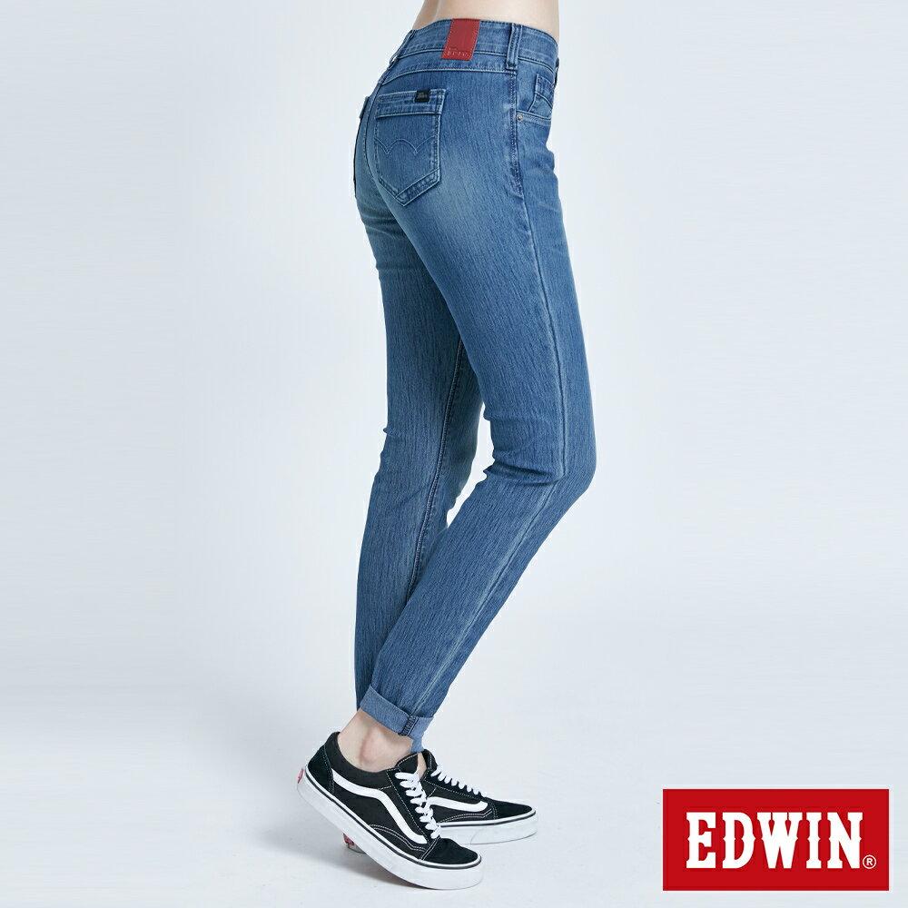 新品↘Miss EDWIN JERSEYS 迦績 PK EJ2透氣中腰合身 AB牛仔褲-女款 拔洗藍 TAPERED 3