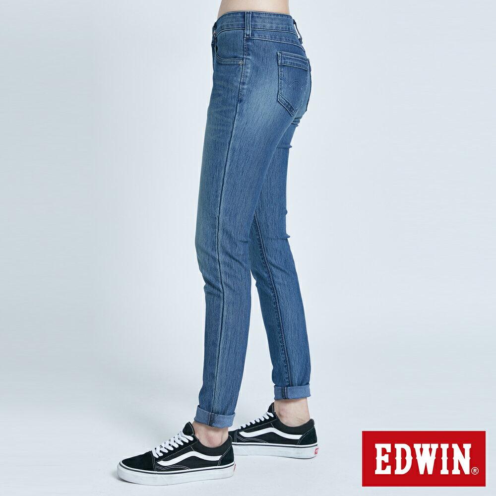 新品↘Miss EDWIN JERSEYS 迦績 PK EJ2透氣中腰合身 AB牛仔褲-女款 拔洗藍 TAPERED 4