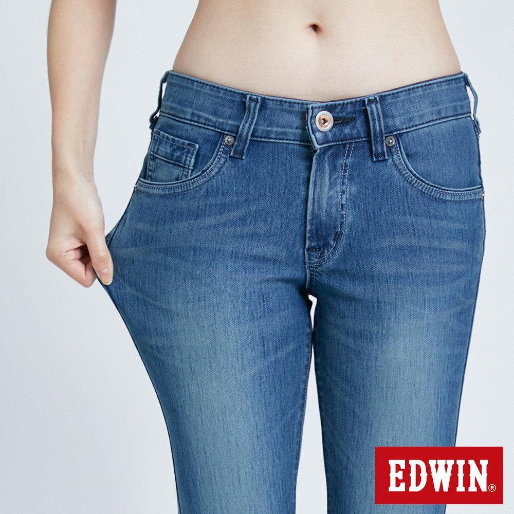 新品↘Miss EDWIN JERSEYS 迦績 PK EJ2透氣中腰合身 AB牛仔褲-女款 拔洗藍 TAPERED 6