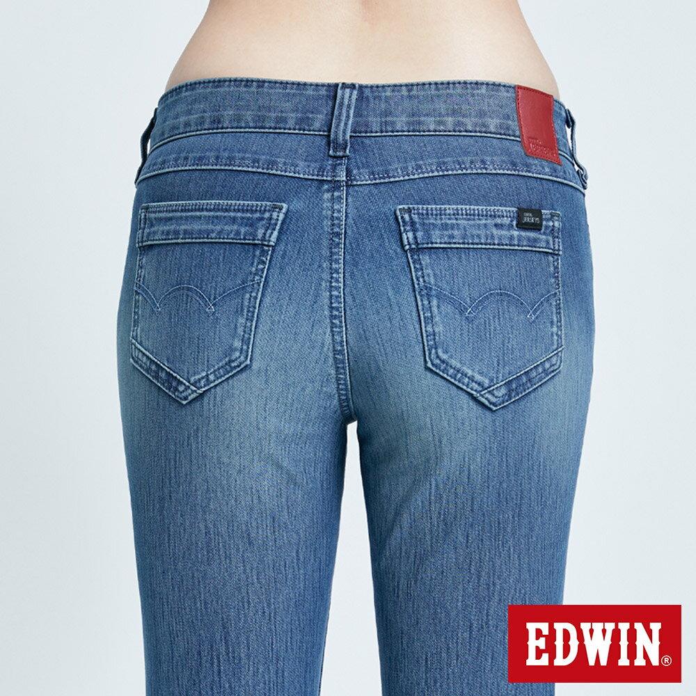 新品↘Miss EDWIN JERSEYS 迦績 PK EJ2透氣中腰合身 AB牛仔褲-女款 拔洗藍 TAPERED 7