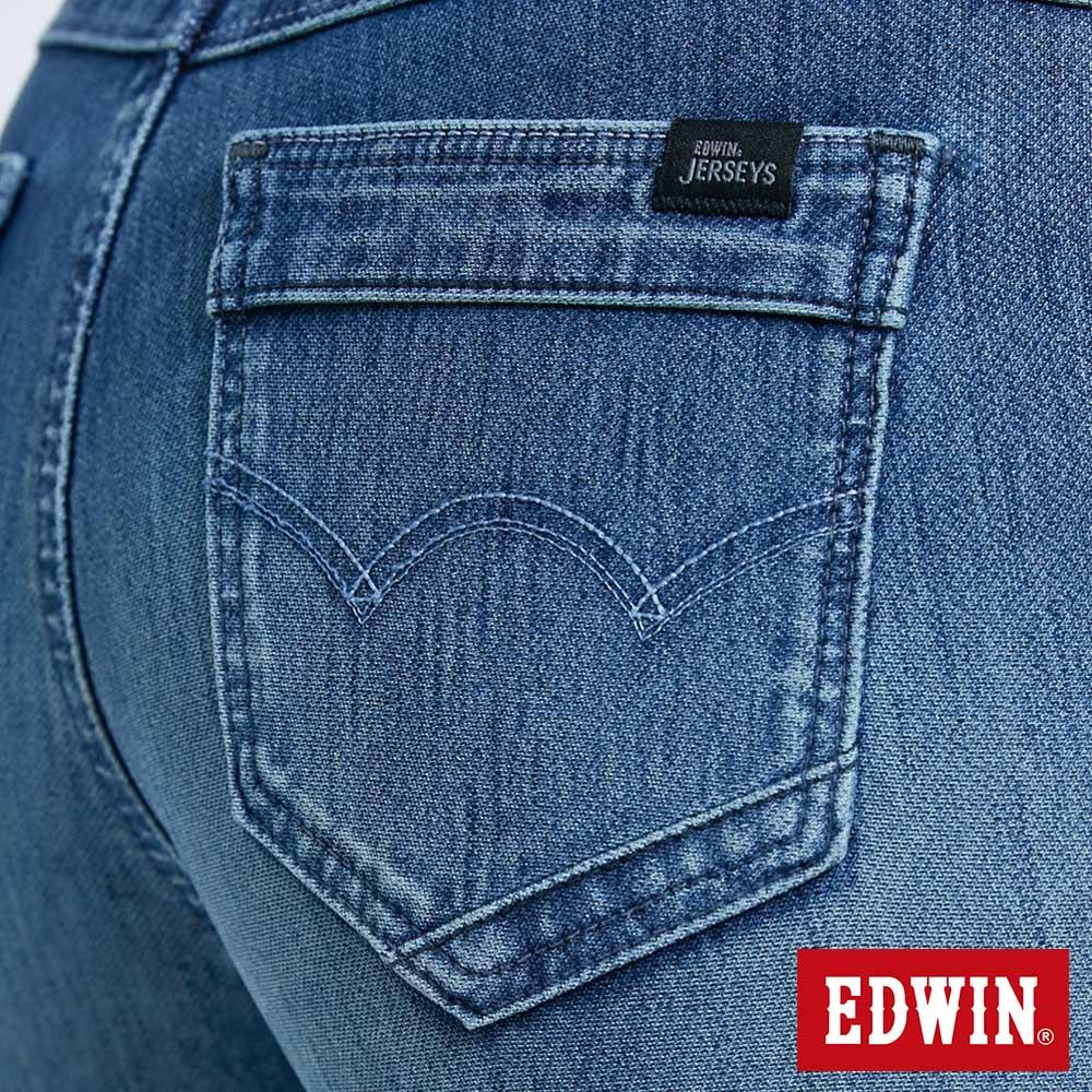 新品↘Miss EDWIN JERSEYS 迦績 PK EJ2透氣中腰合身 AB牛仔褲-女款 拔洗藍 TAPERED 9