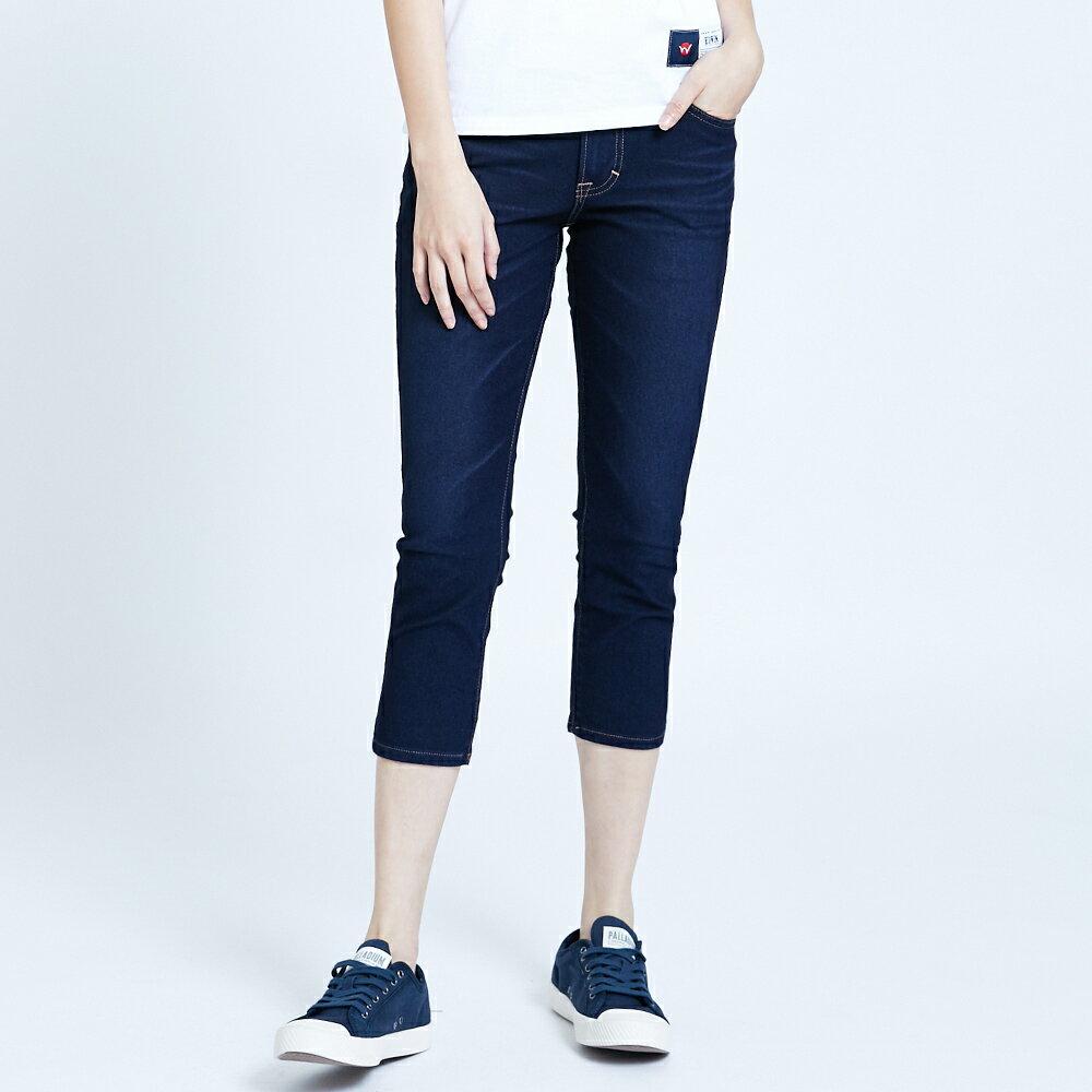 【滿額領券折$150】新品↘EDWIN JERSEYS 迦績 EJ2 透氣修身七分牛仔褲-女款 原藍磨 SLIM  CAPRI PANTS