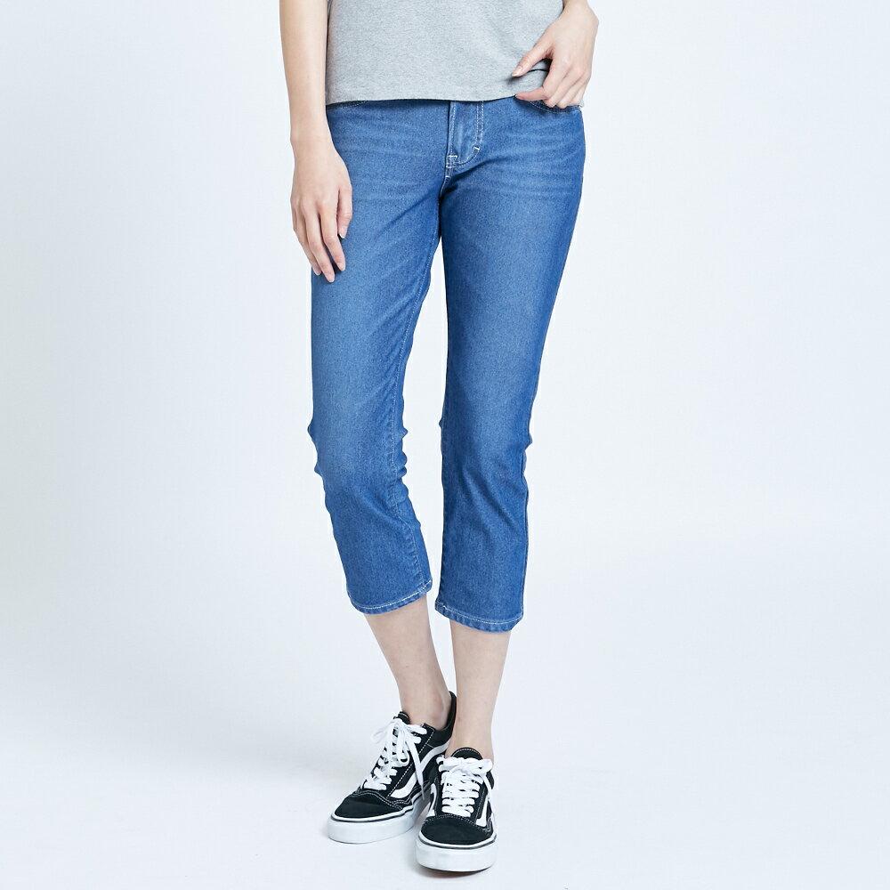 【滿額領券折$150】新品↘EDWIN JERSEYS 迦績 EJ2 透氣修身七分牛仔褲-女款 石洗藍 SLIM  CAPRI PANTS