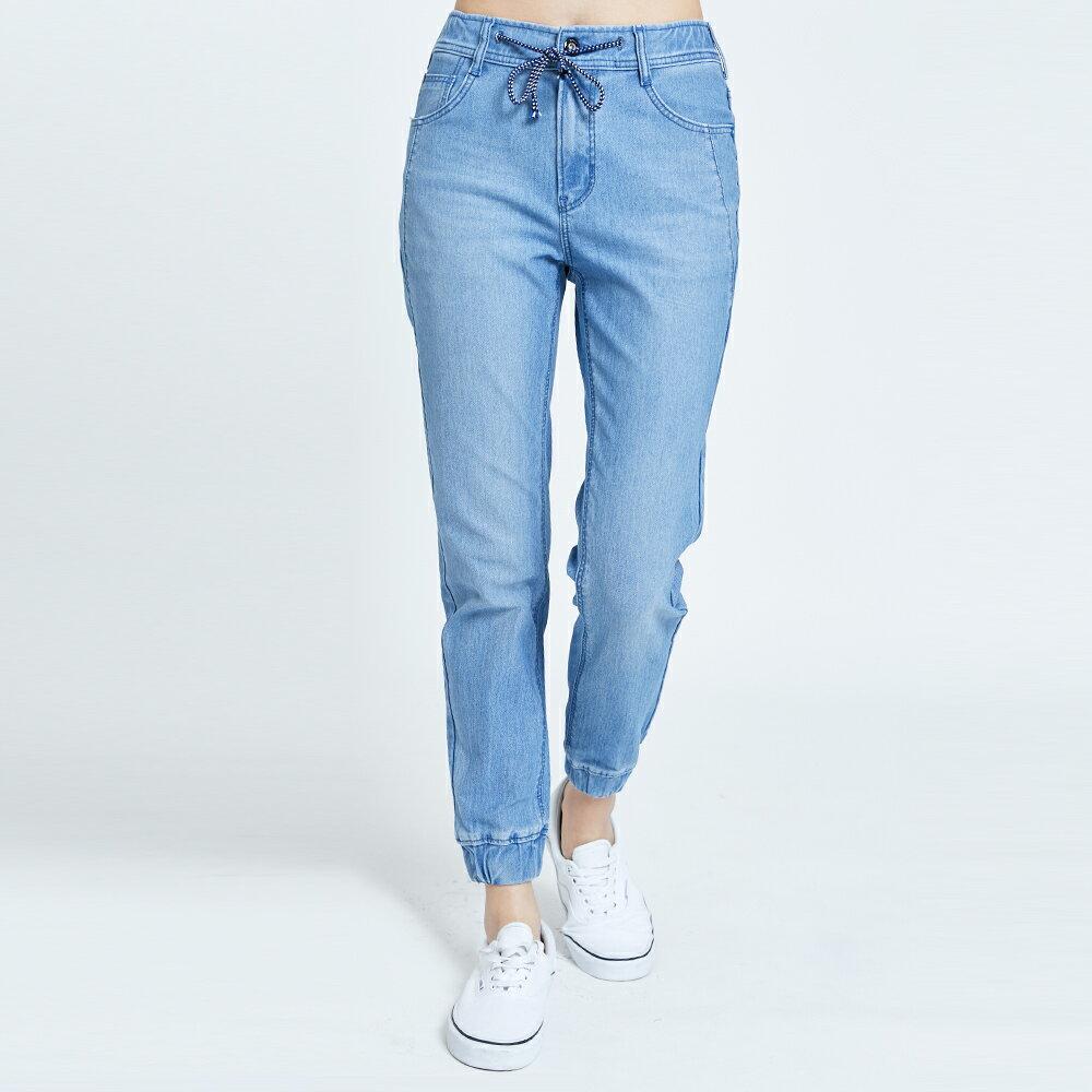 【滿額領券折$150】新品↘EDWIN 迦績 E-FUNCTION EJ6 綁帶束口牛仔褲-女款 漂淺藍 TAPERED JOGGER