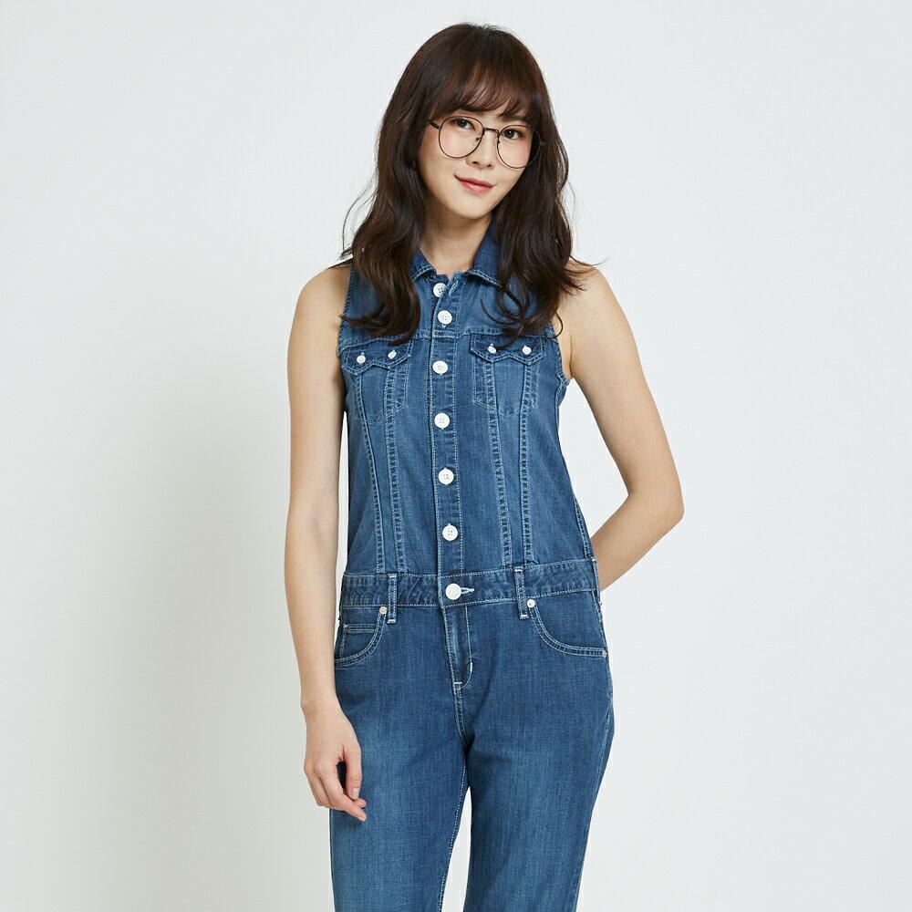 【領券滿1,200再折120】MISS EDWIN 基本款削肩 牛仔連身褲-女款 石洗藍 OVERALL STRAIGHT