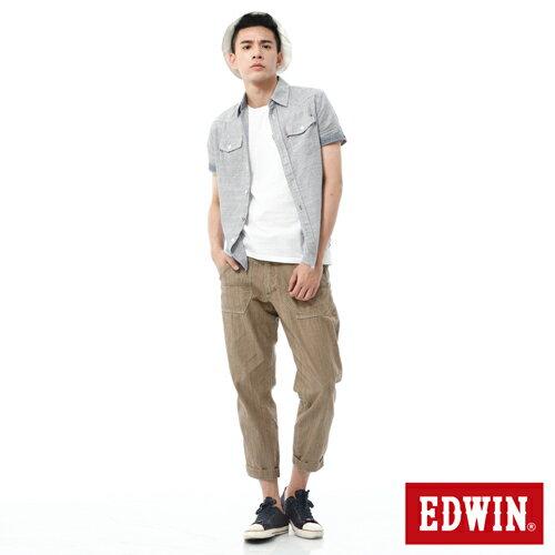 【換季最終波。任2件再9折優惠↘】EDWIN EASY PANTS 混紡七分休閒褲-男-卡其 2