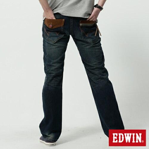 【生日慶最終檔。590丹寧補貨到↘】【零碼】 EDWIN 503B.T麂皮袋蓋直筒褲-男款 水洗復古藍【5/25-5/31限定販售】