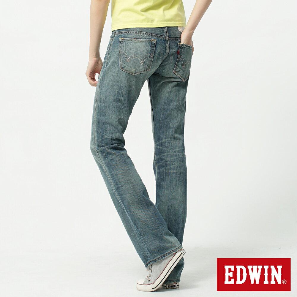 【2件組福袋。1599元↘】Miss EDWIN 503 RV純棉中直筒牛仔褲-女-拔洗藍 1