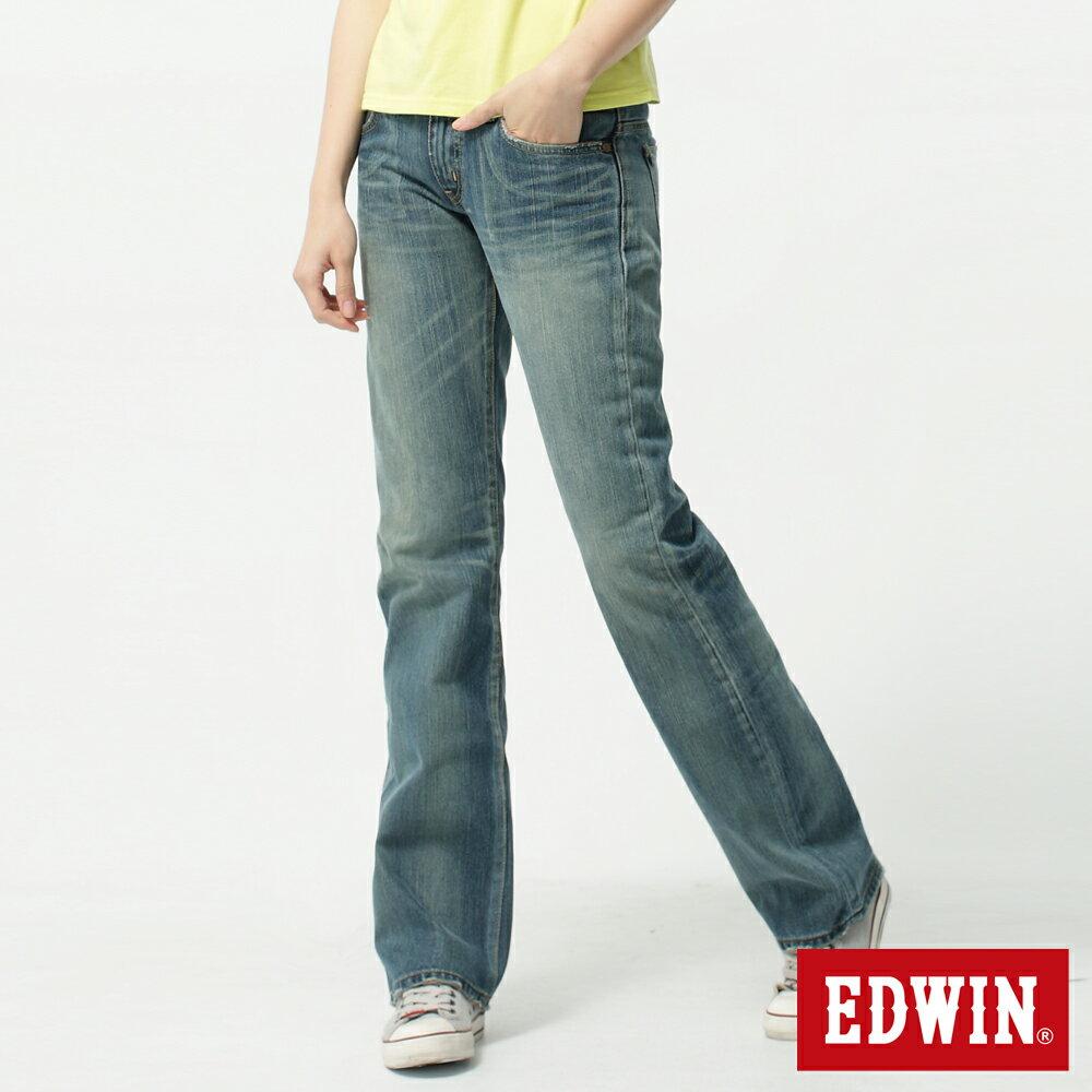 【2件組福袋。1599元↘】Miss EDWIN 503 RV純棉中直筒牛仔褲-女-拔洗藍 0