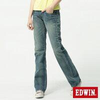 牛仔/丹寧服飾到【990元優惠↘】 Miss EDWIN 503 RV純棉中直筒牛仔褲-女-拔洗藍