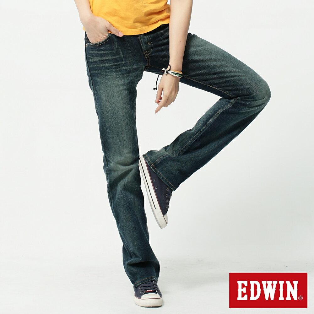 【990元優惠↘】Miss EDWIN 503 RV純棉中直筒牛仔褲-女-拔淺藍